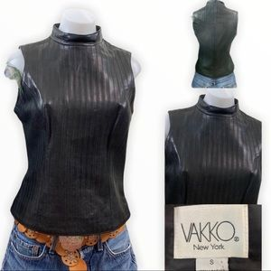 Vakko Top Leather Sleeveless High Neck Fitted Top